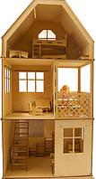 Большой деревянный домик для Барби, с комплектом мебели