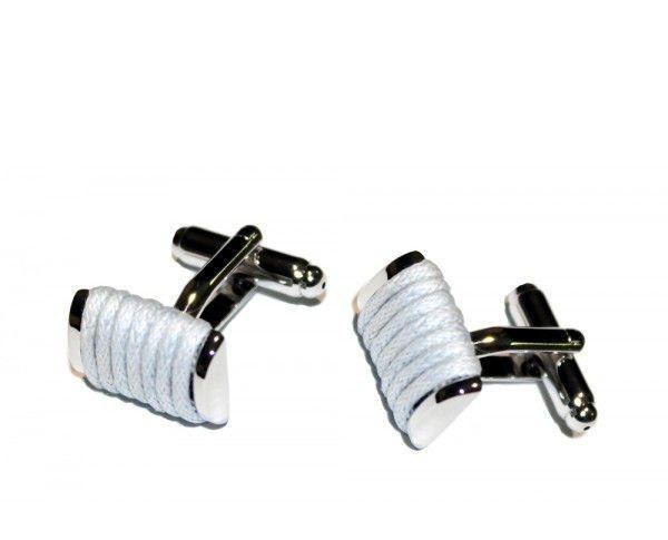 Запонки с серой ниткой, квадратные, серебристые