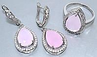 """Набор  """"серьги и кольцо"""",покрытие родием. Камень: белый и розовый циркон. Высота серьги: 4 см Ширина: 15 мм"""