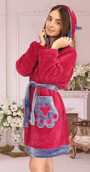 Женский пушистый халат на молнии купить в интернет магазине