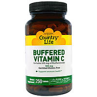 Country Life Buffered Vitamin C, 500 mg 250 Tablets Буферизированный Витамин С