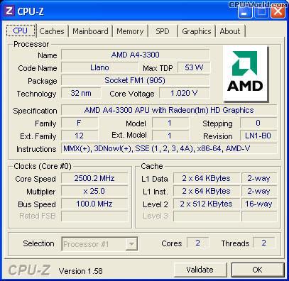 Мощный  процессор AMD A4-3300M AM3300DDX23GX, фото 2