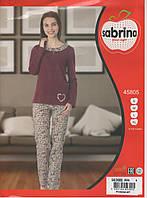 Женская пижама Хлопок с брючками марсалового цвета