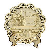 """Настольная деревянная тарелка """"Киев: Памятник основателям"""""""