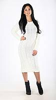 Платье женское теплое вязаное деловое