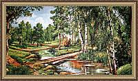Картина в багетной раме Речушка в лесу гобеленовая 300х600мм №G301