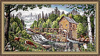 Картина гобеленовая в багетной раме Мельница 300х600мм №G300