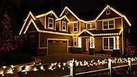 Новогоднее оформление светодиодными гирляндами фасада дома, световое оформление фасадов зданий