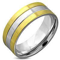 Мужское кольцо из стали с золотыми полосами, в наличии размер 19.0