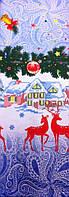 Скатерть новогодняя (рождественская) с оленями льняная