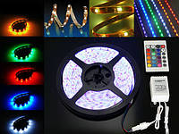 Гибкая светодиодная LED лента SMD 5050 RGB 5 м.+адаптер+контроллер+пульт