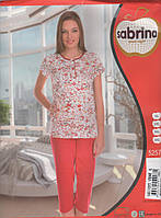 Пижама женская Батальные размеры с капри красного цвета