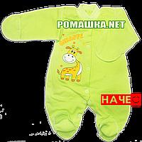 Человечек для новорожденного р. 56 с начесом ткань ФУТЕР 100% хлопок ТМ Алекс 3043 Зеленый2