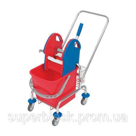 Уборочная тележка 1 ведро по 20 литров + металлическая корзина