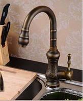 Смеситель кран бронза для мойки раковины высокий кухонный