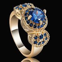 Кольцо синие сапфиры.Круглые- 7 мм и 30 штук по 1.5 мм-17.8 р-18k GF-ИНДИЯ