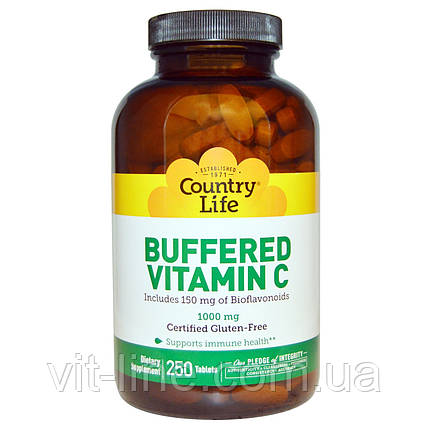 Country Life, Buffered Vitamin C, 1000 mg, 250 Tablets, фото 2