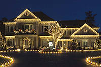 Новогоднее оформление фасадов домов