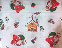 Нарядная рождественская, новогодняя скатерть с дедом морозом