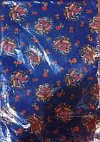 Нарядная рождественская, новогодняя скатерть с колокольчиками синяя