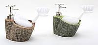 Дозатор для жидкого мыла с губкой и щеткой