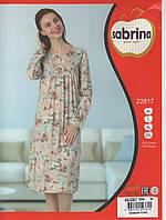 Стильная ночная сорочка-туника пудрового цвета с длинным рукавом