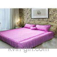 Покрывало 180 х 210 с подушками + подушка сердце (шифон) розовый