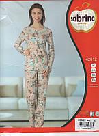 Пудровая женская пижама Sabrina Турция с длинным рукавом БАТАЛ!!!