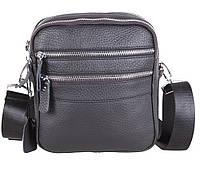 Мужская кожаная сумка через плечо для документов черная