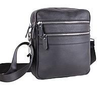 Мужская кожаная сумка-планшетка через плечо черная