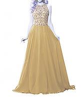 DL-521 Золотисто Желтое Пышное Вечернее Макси Платье Выпускное