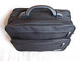Сумка мужская с удобной пластиковой ручккой портфель для документов А4 папка в2651 черный 35х26х17см, фото 5