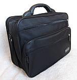 Сумка мужская с удобной пластиковой ручккой портфель для документов А4 папка в2651 черный 35х26х17см, фото 7
