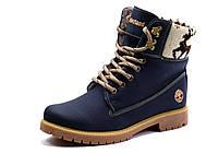 Ботинки Timberland,высокие, унисекс, синие, кожа, на меху, фото 1
