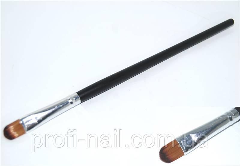 Кисть визажная с деревянойц ручкой для век