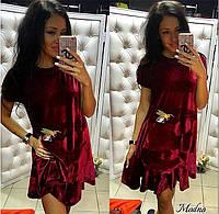 Женское стильное платье из бархат-велюра (3 цвета)