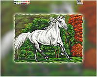 """Схема для вышивки бисером на подрамнике (холст) """"Белая лошадка"""""""
