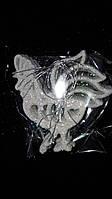 Белый пластиковый петушок (подвеска), блестки, 7х8 см., 10 шт., 38/32 (цена за 1 шт. + 6 гр.)