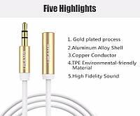 Аудио кабель AUX 3.5 mm jack 1 м (папа-мама)
