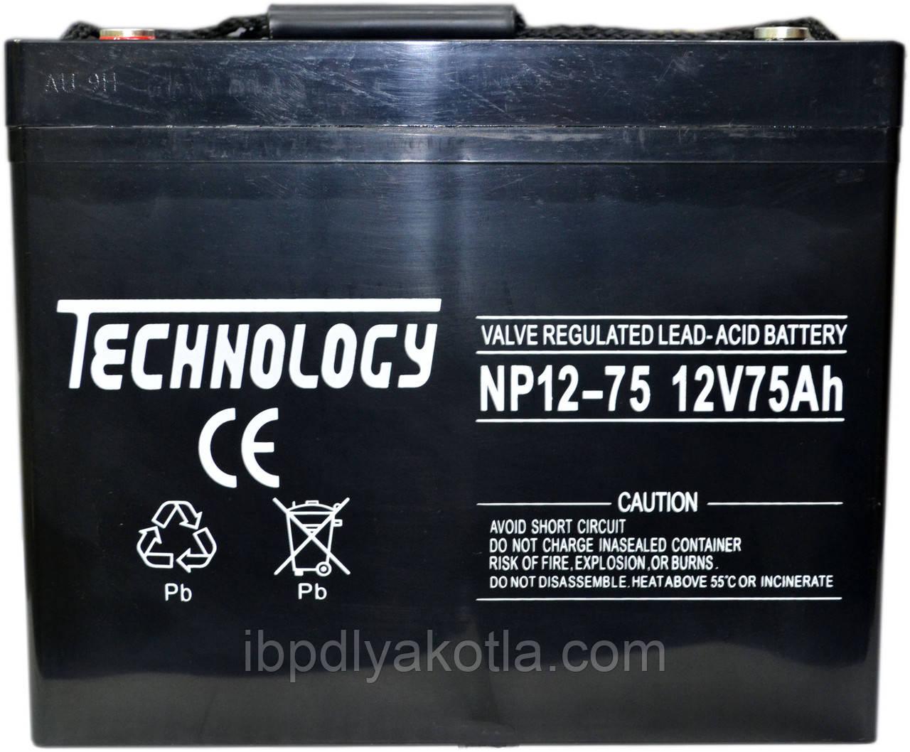 Аккумулятор мультигелевый TECHNOLOGY NP12-75Ah 12V 75AH, (AGM) для ИБП