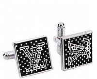 Запонки Louis Vuitton, квадратные,серебристые