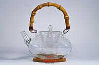 Чайник из стекла 1200мл (жаропрочный) с бамбуковой ручкой, фото 1