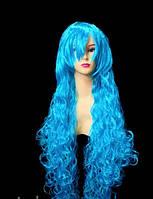Парик ультра-длинный кудрявый голубой 90 см