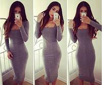 Платье удлиненное с квадратным вырезом