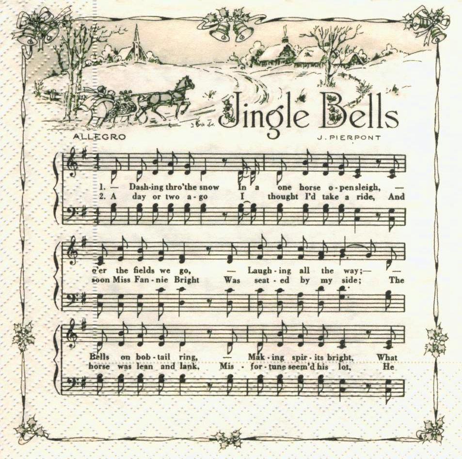 Салфетка декупажная Рождественские песни 6469