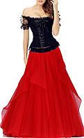 DL-509  Длинное красно-чёрное платье корсет на выпускной