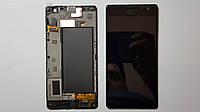 Дисплей  (экран) Nokia Lumia 730, 735 с сенсором и рамкой черный high copy.