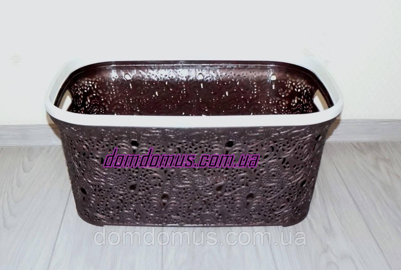 """Корзина для белья """"Ажур""""  47 л Elif Plastik, Турция,  коричневая"""