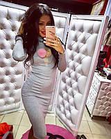"""Женское модное платье-гольф с мехом """"Мороженное"""", фото 1"""