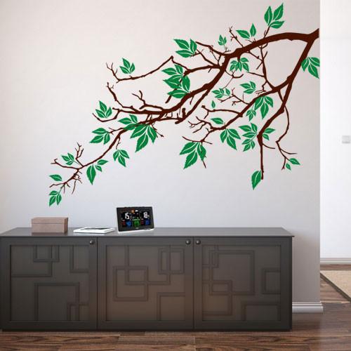 Интерьерная наклейка Ветка клена (виниловая самоклеящаяся пленка оракал большая наклейка дерево на стену)
